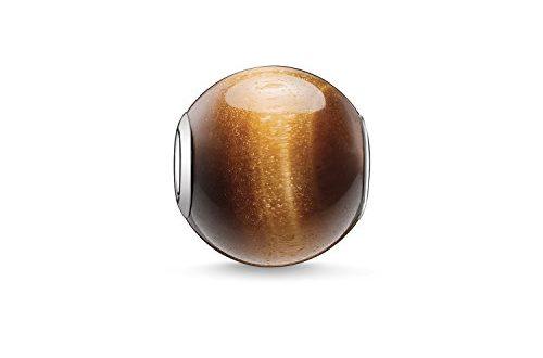 Thomas Sabo Damen-Bead Karma Beads 925 Sterling Silber Tigerauge poliert braun K0045-045-2